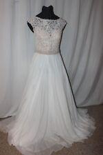 NWT Sherri Hill 50041 Size 14 Ivory chiffon/lace sleeveless long formal gown