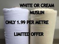 100% COTTON SOFT MUSLIN FABRIC per Metre Premium Material Extra Wide 150CM