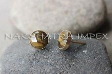 Tiger Eye 12mm Round Briolette 925 Sterling Silver Gold Plated Studs Earrings