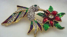 NEW Rhinestone & enamel hummingbird on flower pin brooch