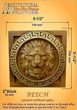 Hand carved Beech Wood Lion Head Applique Rosette,VINTAGE ANTIQUE Style