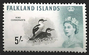 Falkland Islands Stamp 1960 5/- Queen Elizabeth II Scott 140 SG205 MINT OG LH-H