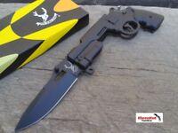 """8"""" Black REVOLVER GUN TACTICAL Spring Assisted Open Pocket Knife Folding Blade"""