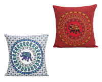 Indian Elephant Mandala Throw Pillow Case Cotton Cushion Cover Square Sham Cases