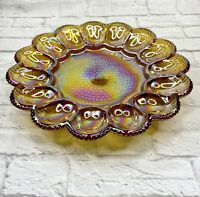 Vintage Indiana Glass USA Hobnail Deviled Egg Server Plate Dish Amber Carnival