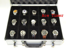 15 Watches Aluminum Briefcase Traveling Storage Case fits watches up to 75mm