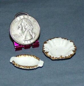 Miniature Dollhouse Serving Bowl Dish Dishes VTG Metal White Gold Trim 1:12