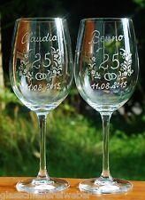 2 Weingläser mit Gravur Silberhochzeit Goldhochzeit ECHT HANDGESCHLIFFEN