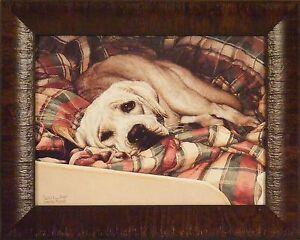 BED WARMER by Sueellen Ross 12x15 Yellow Lab Puppy Dog Labrador FRAMED WALL ART