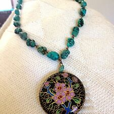 Signed Miriam Haskell Turquoise And Enamel Inlay Necklace