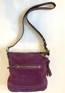 Coach Crossbody Purple Amethyst Purse Suede Medium Shoulder Bag