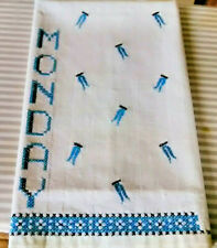 Vintage mid century linen fabric cross stitch towel Monday clothes pin design!