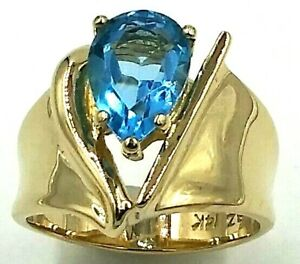 14K Yellow Gold 2.0 Carat Blue Topaz Contemporary Ring 6.4 Grams Size 6 AMIGEMS