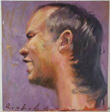 "Oil Painting on Wood Portrait of Man Unframed Signed Art Decor (20"" x 19"")"