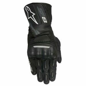 Alpinestars SP-8 V2 Mens Leather Motorcycle Motorbike Gloves Black Dark Grey
