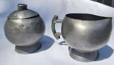 Antique Pewter Jade Chinese China pitcher creamer & Sugar tea signed hand made