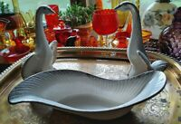 Vintage Console Bowl W/2 Swans, Ceramic, California Pottery, MCM, Country Chic