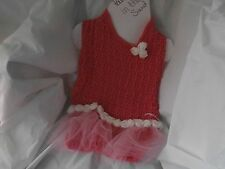 CROCHETED PINK /TULLE ROSE  DOG SWEATER IN SMALL OR X/SMALL