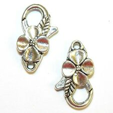 ML7207L Antique Silver Large 25mm Flower Design Lobster Claw Focal Clasp 10pc