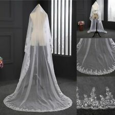 3M 1 Layer White Cathedral Length Lace Edge Bride Wedding Bridal Veil New US