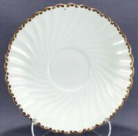 """Gladstone Bone China Old Grecian Flute 5 1/2"""" White and Gold Saucer"""