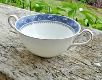 Aynsley Blue Mist  Cream Soup Bouillon Cup Soup Coupe Flowered Rim with platinum