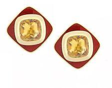Leo De Vroomen Citrine and Enamel Earrings