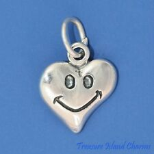 Happy Face Smile Emoji Heart .925 Sterling Silver Charm Pendant MADE IN USA