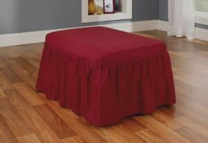 NEW Cotton twill Two Piece Ottoman Slipcover sure fit new wine red burgundy