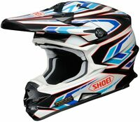 SHOEI VFX-W HELMET BLOCKPASS TC2 BLACK/WHITE/BLUE MOTOCROSS MX CHEAP SALE BMX