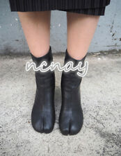 Womens  Chic Leather Mid-Calf Boots Block High Heel Black Zipper Shoes Ankle Sz