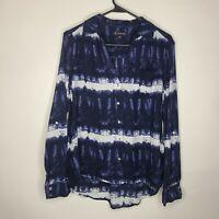 INC International Concepts Tie Dye Batik Blue White Button Front Blouse Size L