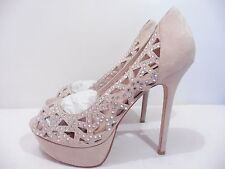 "Dune ""Black Sand"" Ivory Suede Diamante Laser Cut Platform Heels Size 7 Bridal"