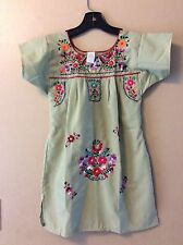 Kids Girls Olive Green Mexican Embroidered Peasant Dress Boho Hippie Sz 4