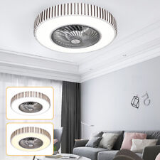 """21"""" Modern Ceiling Fan Light Dimmable Lamp Bluetooth App Remote Control 110V 72W"""