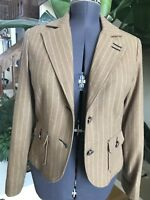 Level 99 Women Medium Camel Tan Striped Wool Button Coat Blazer Jacket