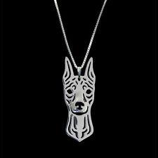 Miniature Pinscher Dog Pendant Necklace Silver Animal Rescue Donation