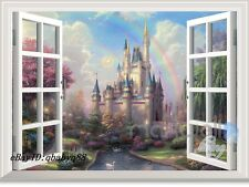 Disney Tinkerbell Fairy Castle 3D Window Wall Decals Girl Stickers Nursery Decor