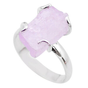 6.78cts Raw Natural Pink Kunzite Rough 925 Sterling Silver Ring Size 8 T48170