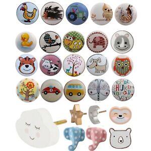 KIDS Childrens Ceramic Door Knobs Animal Handles Cupboard Drawer White cabinet