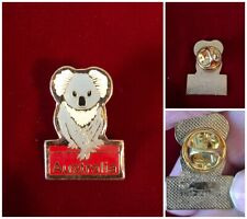 "Australia Koala Bear Marsupial Epoxy Enamel Hat Tie Lapel Pin Vtg 1"" Tall"