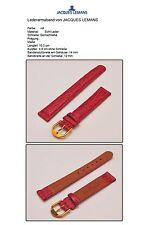 14mm Luxus Uhrenarmband Jacques Lemans Haifisch-Prägung rot,vergoldete Schliesse