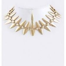 Gold Tone Spike Stacked Bib Choker Statement Necklace Set Unique Costume Jewelry