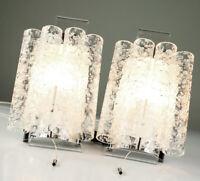 Doria Wand Lampen Paar Glas Röhrchen Leuchte Chrom Design Vintage 60er Jahre