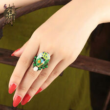 Chinese antique Cloisonne Peacock natural jade Pearl bronze Adjustable ring