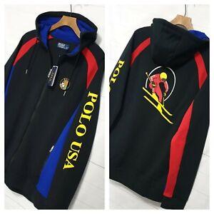 ⭐ mens Ralph Lauren Downhill Ski 92 Polo USA cookie zip hoodie stadium jacket XL