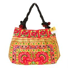 Flower Boho Tote Bag with Thai Hmong Tribes Embroidered Fair Trade in Yellow