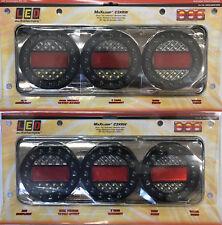 LED Autolamps Pair Black Chrome MaxilampC3XRW Stop/Tail/Ind/Rev 12/24V 4WD&Truck