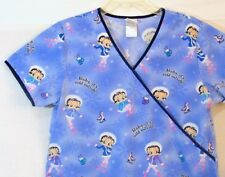 Betty Boop Scrub Top Size Medium Blue Lilac Winter Scenes Medical Uniform