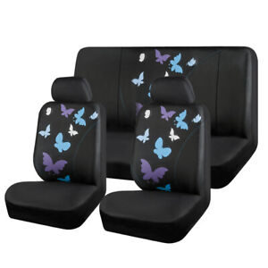 Car Seat Cover Blue Butterfly Universal Fabric fit for Holden Toyota Nissan Ford